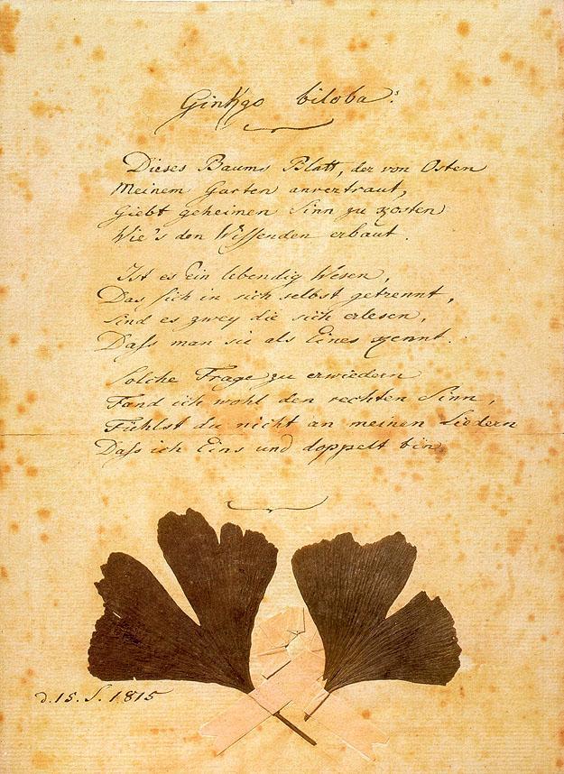 Оригинал стихотворения из Музея Гёте в Дюссельдорфе
